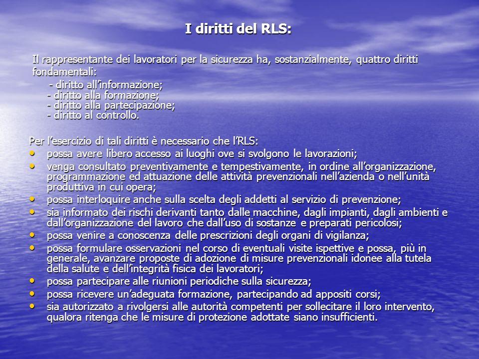 I diritti del RLS: I diritti del RLS: Il rappresentante dei lavoratori per la sicurezza ha, sostanzialmente, quattro diritti Il rappresentante dei lav
