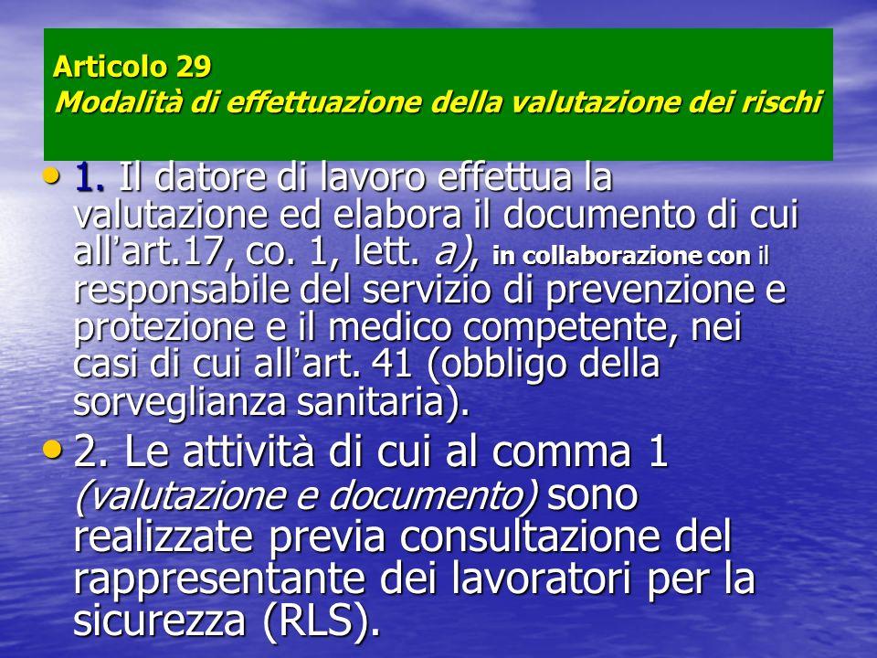 Articolo 29 Modalità di effettuazione della valutazione dei rischi 1. Il datore di lavoro effettua la valutazione ed elabora il documento di cui all a