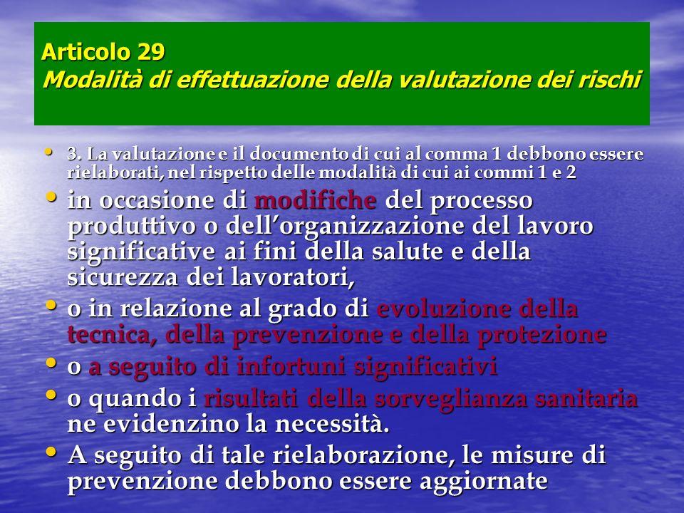 Articolo 29 Modalità di effettuazione della valutazione dei rischi 3. La valutazione e il documento di cui al comma 1 debbono essere rielaborati, nel