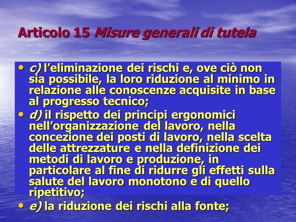 Articolo 15 Misure generali di tutela c) leliminazione dei rischi e, ove ciò non sia possibile, la loro riduzione al minimo in relazione alle conoscen