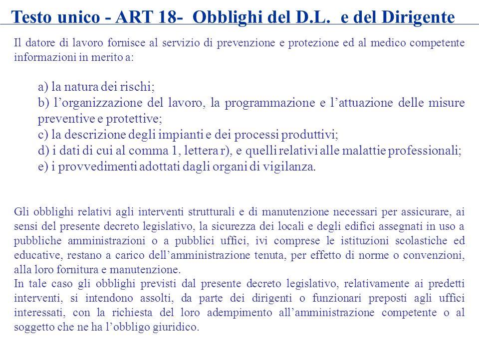Il datore di lavoro fornisce al servizio di prevenzione e protezione ed al medico competente informazioni in merito a: a) la natura dei rischi; b) lor