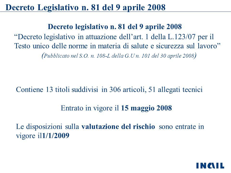 Il Decreto legislativo 9 Aprile 2008 n.81 Viene integrato : Legge del 2 agosto 2008, n.