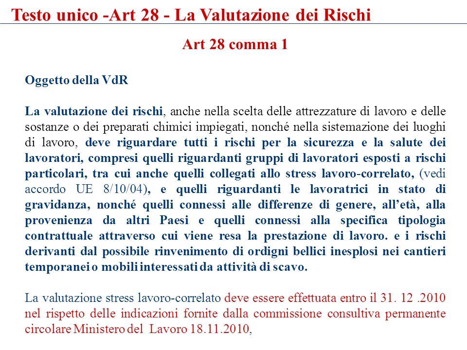 Art 28 comma 1 Oggetto della VdR La valutazione dei rischi, anche nella scelta delle attrezzature di lavoro e delle sostanze o dei preparati chimici i