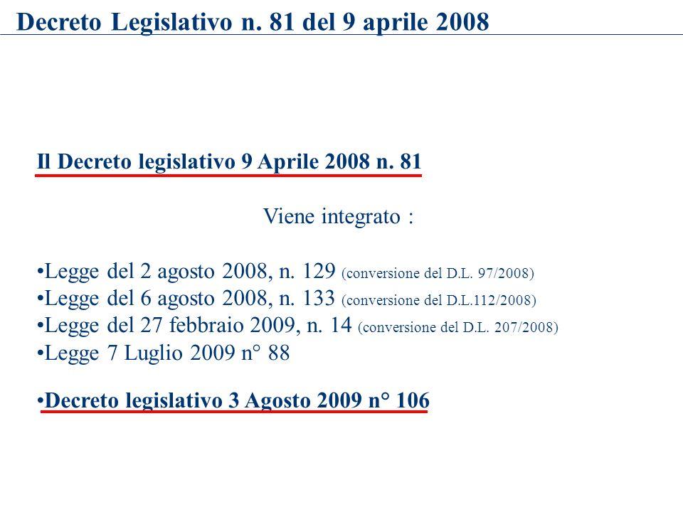 Il Decreto legislativo 9 Aprile 2008 n. 81 Viene integrato : Legge del 2 agosto 2008, n. 129 (conversione del D.L. 97/2008) Legge del 6 agosto 2008, n