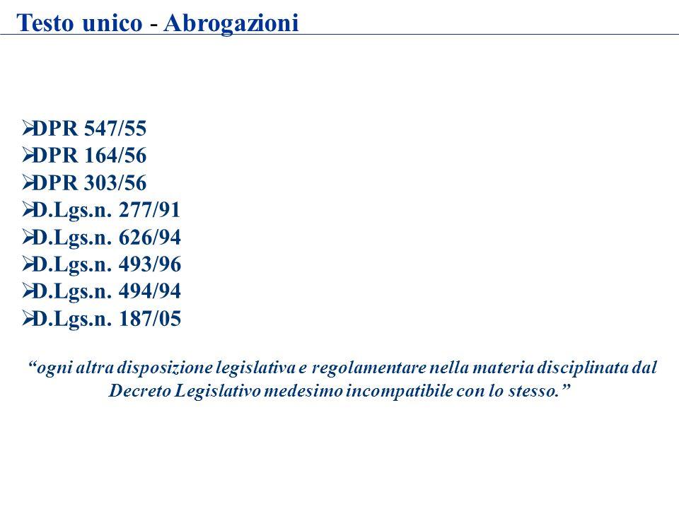 DPR 547/55 DPR 164/56 DPR 303/56 D.Lgs.n. 277/91 D.Lgs.n. 626/94 D.Lgs.n. 493/96 D.Lgs.n. 494/94 D.Lgs.n. 187/05 ogni altra disposizione legislativa e