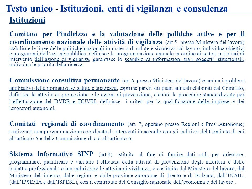 Istituzioni Comitato per lindirizzo e la valutazione delle politiche attive e per il coordinamento nazionale delle attività di vigilanza (art.5 presso