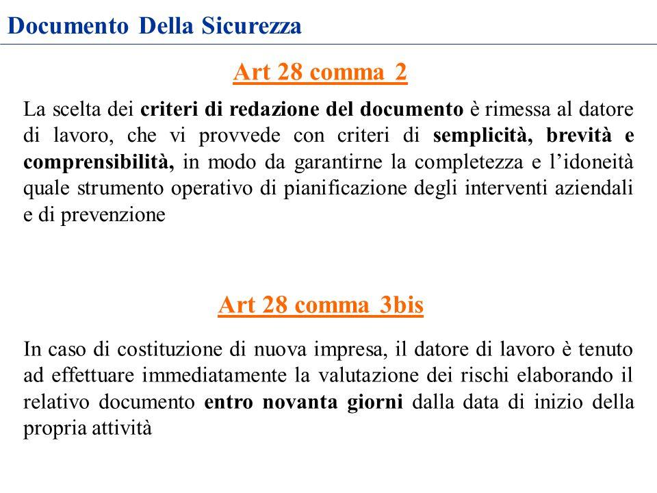 Documento Della Sicurezza La scelta dei criteri di redazione del documento è rimessa al datore di lavoro, che vi provvede con criteri di semplicità, b