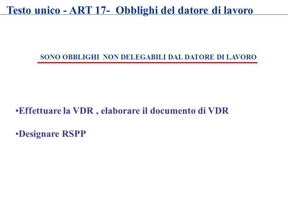 SONO OBBLIGHI NON DELEGABILI DAL DATORE DI LAVORO Effettuare la VDR, elaborare il documento di VDR Designare RSPP Testo unico - ART 17- Obblighi del d