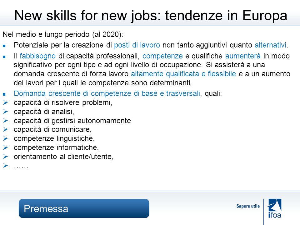 Premessa New skills for new jobs: tendenze in Europa Nel medio e lungo periodo (al 2020): Potenziale per la creazione di posti di lavoro non tanto aggiuntivi quanto alternativi.