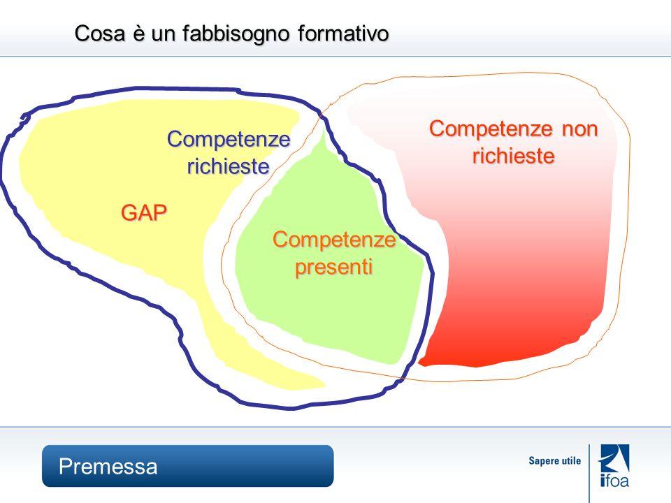 Cosa è un fabbisogno formativo Competenze non richieste Competenze presenti Competenze richieste GAP