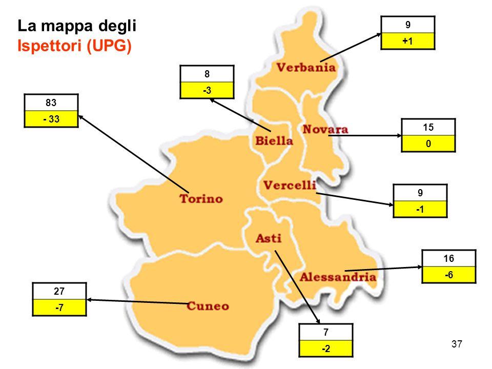 37 La mappa degli Ispettori (UPG) 83 - 33 16 -6 7 -2 9 15 09+1 8 -3 27 -7