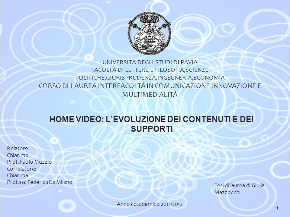 UNIVERSITÀ DEGLI STUDI DI PAVIA FACOLTÀ DI LETTERE E FILOSOFIA,SCIENZE POLITICHE,GIURISPRUDENZA,INGEGNERIA,ECONOMIA CORSO DI LAUREA INTERFACOLTÀ IN COMUNICAZIONE INNOVAZIONE E MULTIMEDIALITÀ HOME VIDEO: LEVOLUZIONE DEI CONTENUTI E DEI SUPPORTI Relatore: Chiar.mo Prof.