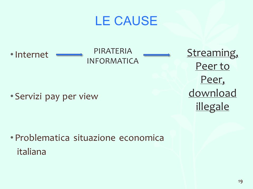 LE CAUSE Internet Servizi pay per view Problematica situazione economica italiana PIRATERIA INFORMATICA Streaming, Peer to Peer, download illegale 19