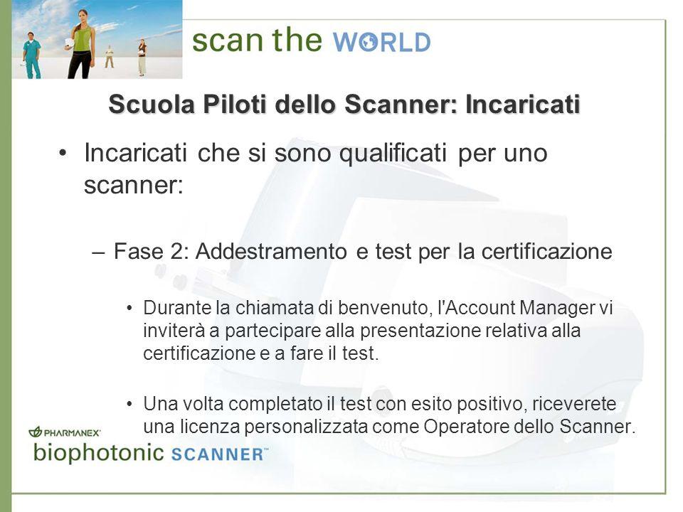 Scuola Piloti dello Scanner: Incaricati Incaricati che si sono qualificati per uno scanner: –Fase 2: Addestramento e test per la certificazione Durant