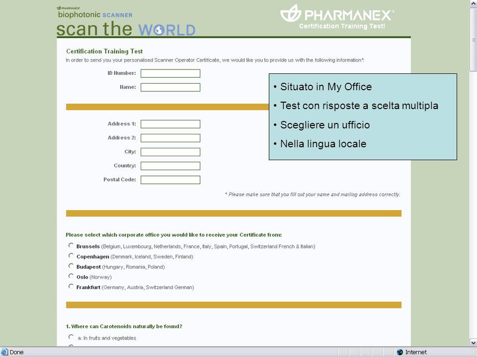 Scuola Piloti dello Scanner: Account Manager e Coordinatore dello Scanner Situato in My Office Test con risposte a scelta multipla Scegliere un uffici
