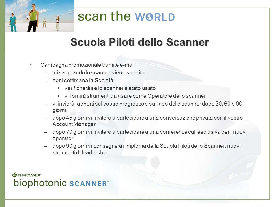 Scuola Piloti dello Scanner Campagna promozionale tramite e-mail –inizia quando lo scanner viene spedito –ogni settimana la Società: verificherà se lo