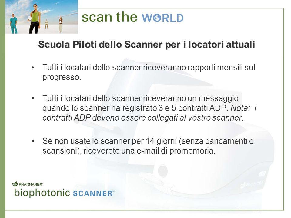 Scuola Piloti dello Scanner per i locatori attuali Tutti i locatari dello scanner riceveranno rapporti mensili sul progresso. Tutti i locatari dello s