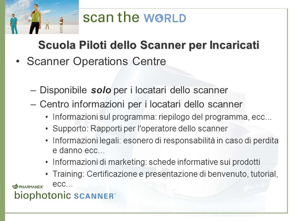 Scanner Operations Centre –Disponibile solo per i locatari dello scanner –Centro informazioni per i locatari dello scanner Informazioni sul programma: