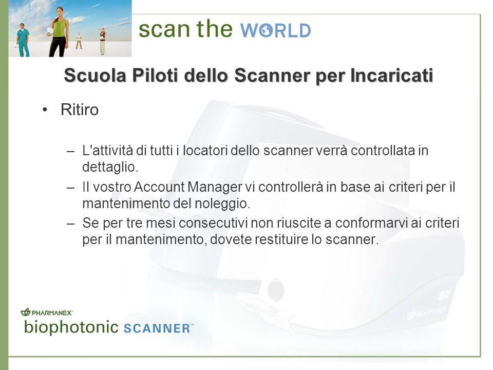 Ritiro –L'attività di tutti i locatori dello scanner verrà controllata in dettaglio. –Il vostro Account Manager vi controllerà in base ai criteri per