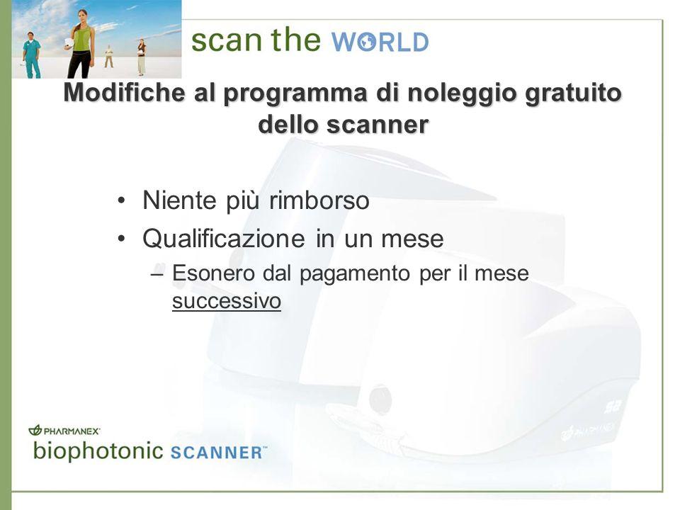 Modifiche al programma di noleggio gratuito dello scanner Niente più rimborso Qualificazione in un mese –Esonero dal pagamento per il mese successivo