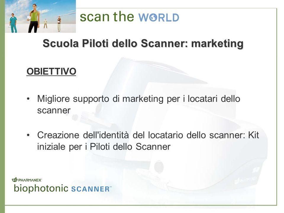 Scuola Piloti dello Scanner: marketing OBIETTIVO Migliore supporto di marketing per i locatari dello scanner Creazione dell'identità del locatario del