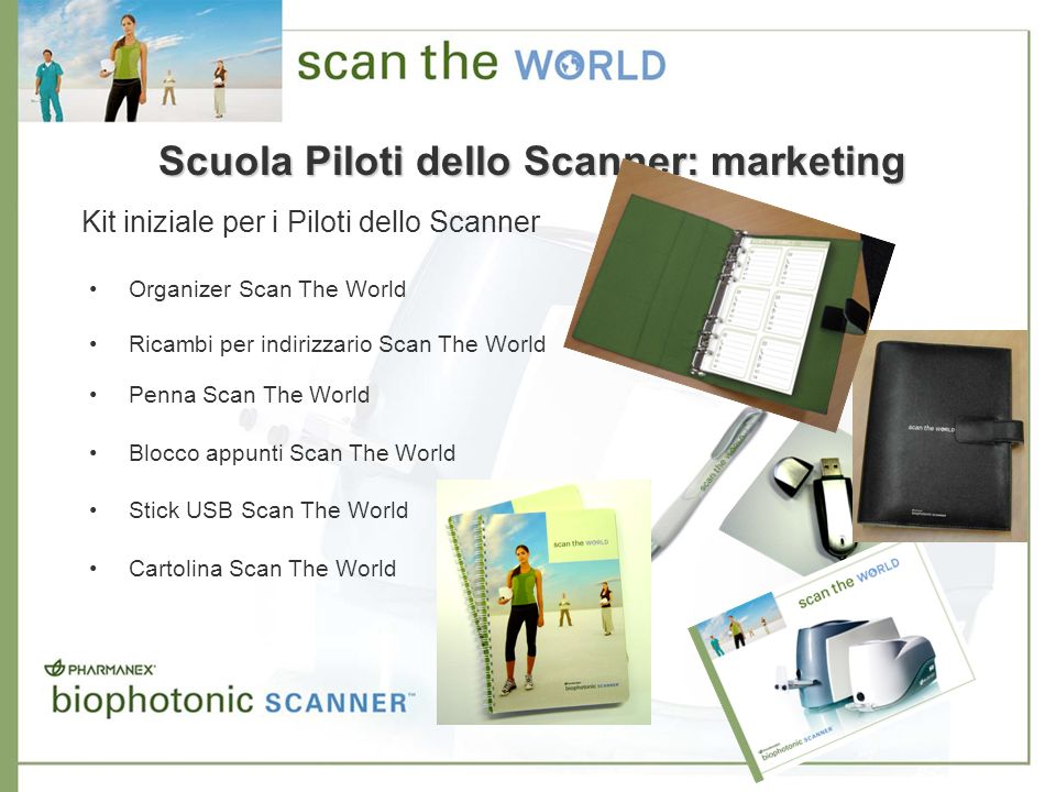 Organizer Scan The World Ricambi per indirizzario Scan The World Penna Scan The World Blocco appunti Scan The World Stick USB Scan The World Cartolina Scan The World Scuola Piloti dello Scanner: marketing Kit iniziale per i Piloti dello Scanner