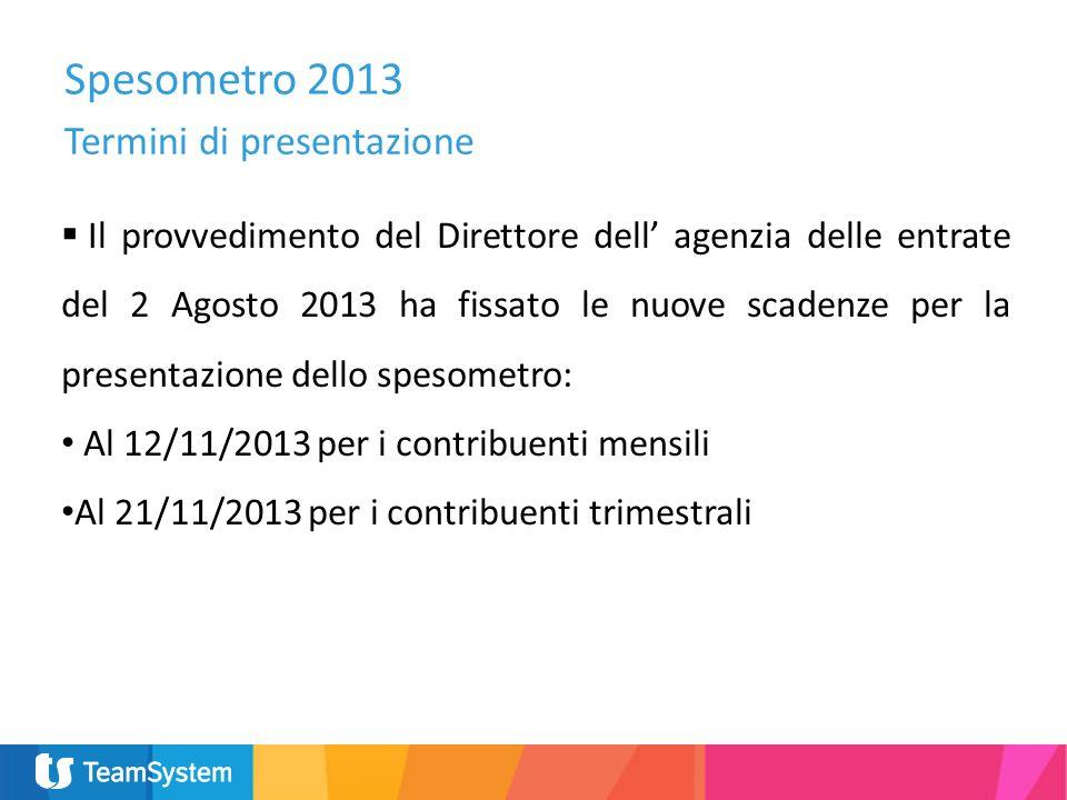 Spesometro 2013 Termini di presentazione Il provvedimento del Direttore dell agenzia delle entrate del 2 Agosto 2013 ha fissato le nuove scadenze per
