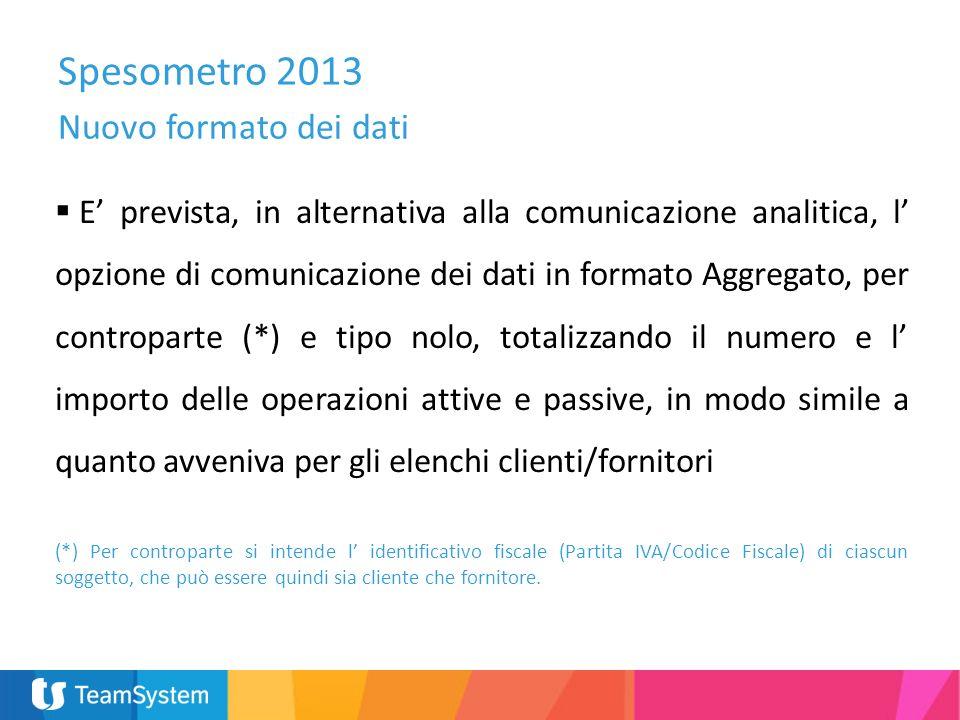 Spesometro 2013 Nuovo formato dei dati E prevista, in alternativa alla comunicazione analitica, l opzione di comunicazione dei dati in formato Aggrega