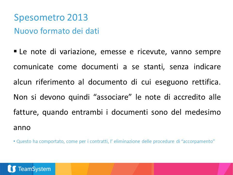 Spesometro 2013 Nuovo formato dei dati Le note di variazione, emesse e ricevute, vanno sempre comunicate come documenti a se stanti, senza indicare al