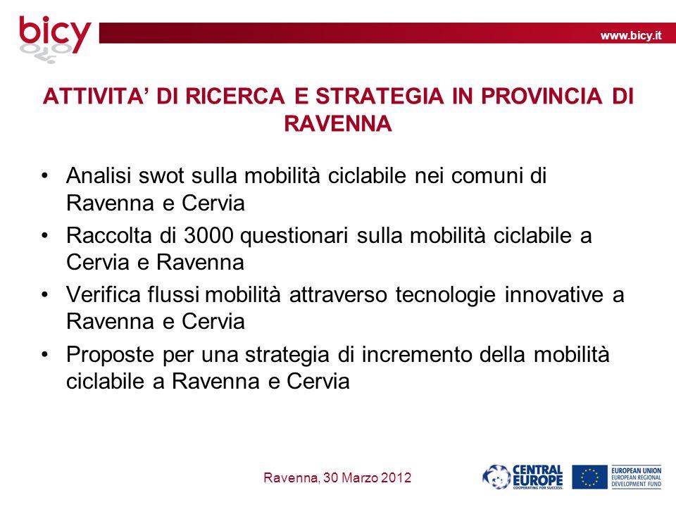 www.bicy.it Ravenna, 30 Marzo 2012 ATTIVITA DI RICERCA E STRATEGIA IN PROVINCIA DI RAVENNA Analisi swot sulla mobilità ciclabile nei comuni di Ravenna