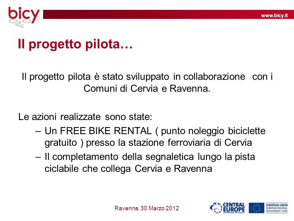www.bicy.it Ravenna, 30 Marzo 2012 Il progetto pilota… Il progetto pilota è stato sviluppato in collaborazione con i Comuni di Cervia e Ravenna.