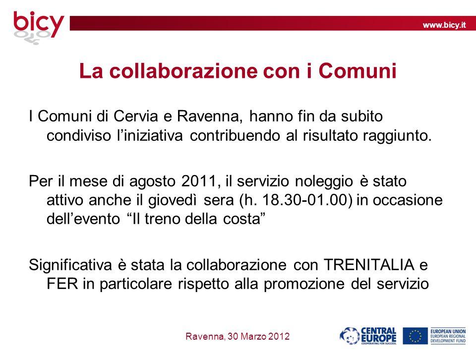 www.bicy.it Ravenna, 30 Marzo 2012 La collaborazione con i Comuni I Comuni di Cervia e Ravenna, hanno fin da subito condiviso liniziativa contribuendo al risultato raggiunto.