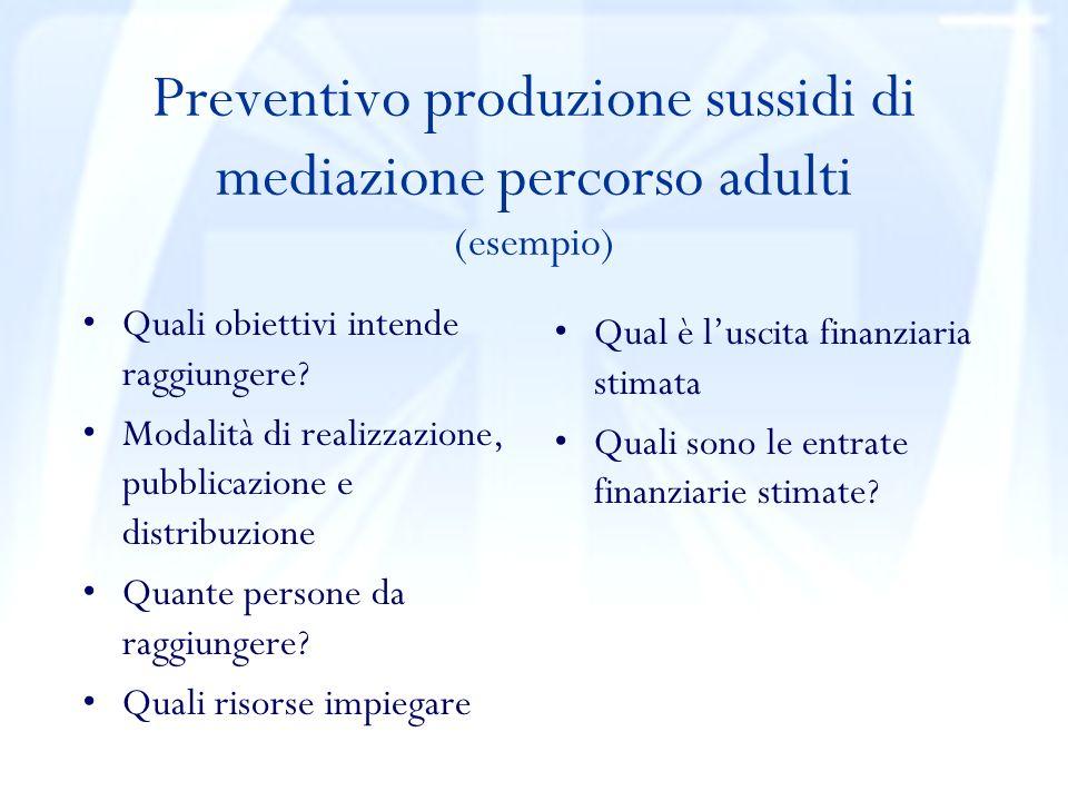 Preventivo produzione sussidi di mediazione percorso adulti (esempio) Quali obiettivi intende raggiungere.