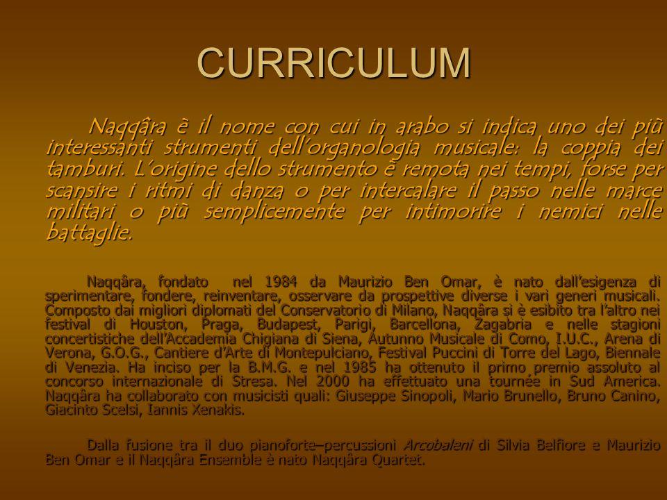 CURRICULUM Naqqâra è il nome con cui in arabo si indica uno dei più interessanti strumenti dellorganologia musicale: la coppia dei tamburi.