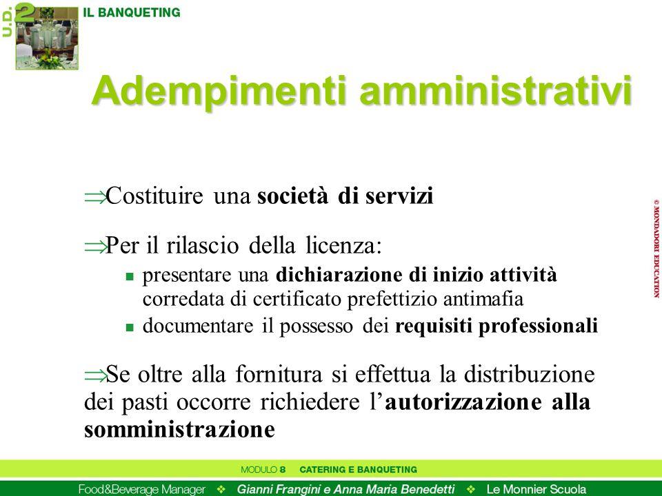 Adempimenti amministrativi Costituire una società di servizi Per il rilascio della licenza: n presentare una dichiarazione di inizio attività corredat