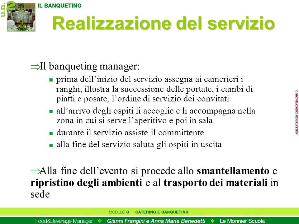 Realizzazione del servizio Il banqueting manager: n prima dellinizio del servizio assegna ai camerieri i ranghi, illustra la successione delle portate