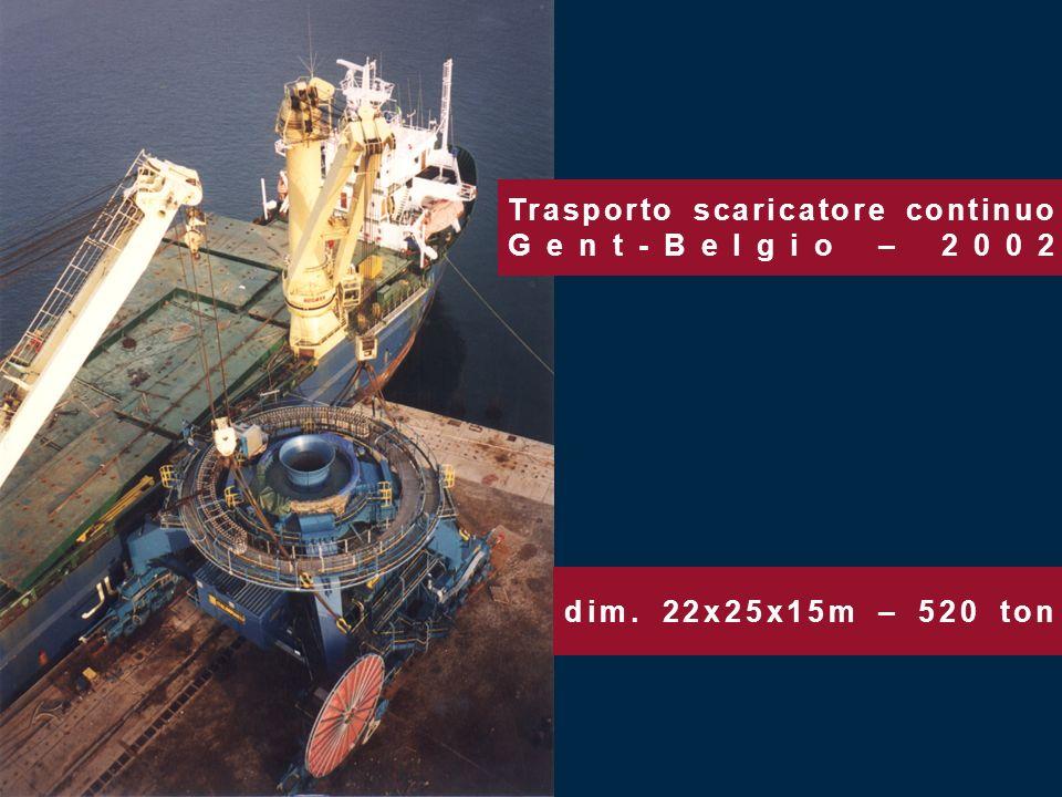 dim. 22x25x15m – 520 ton Trasporto scaricatore continuo Gent-Belgio – 2002