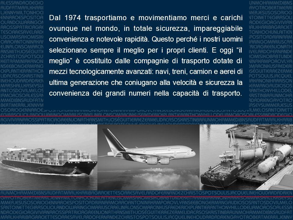 Dal 1974 trasportiamo e movimentiamo merci e carichi ovunque nel mondo, in totale sicurezza, impareggiabile convenienza e notevole rapidità. Questo pe
