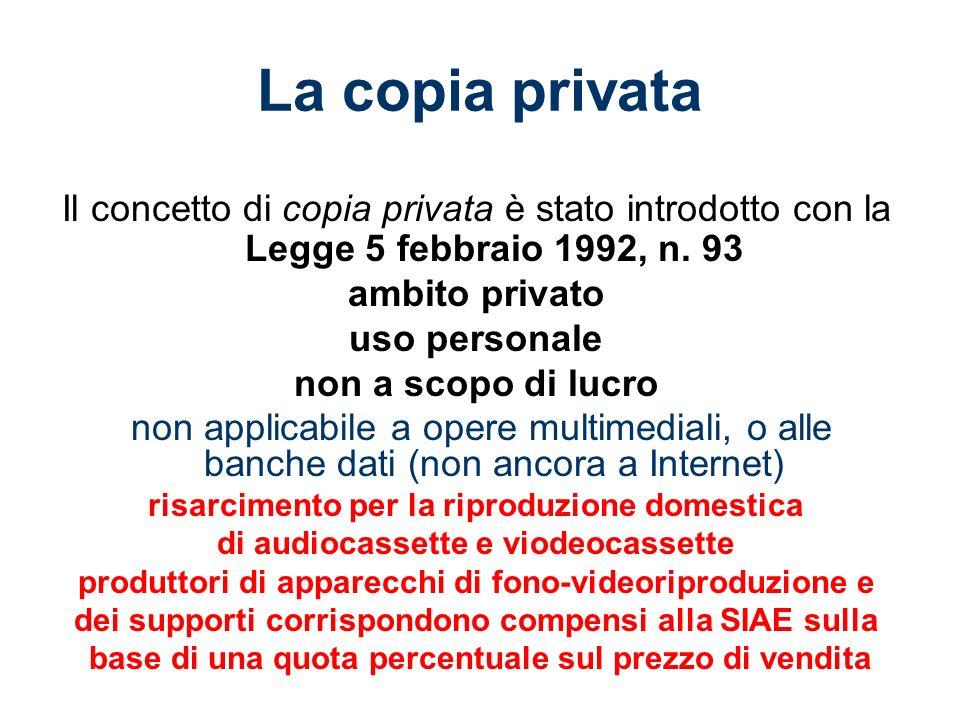 La copia privata Il concetto di copia privata è stato introdotto con la Legge 5 febbraio 1992, n.