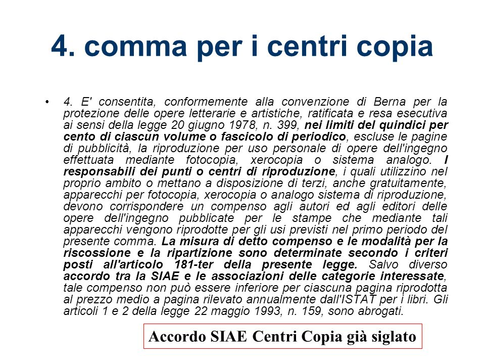 4. comma per i centri copia 4.