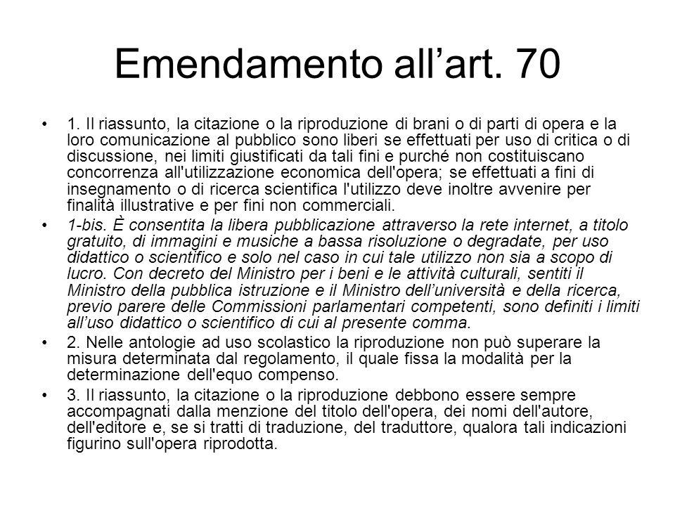 Emendamento allart. 70 1.