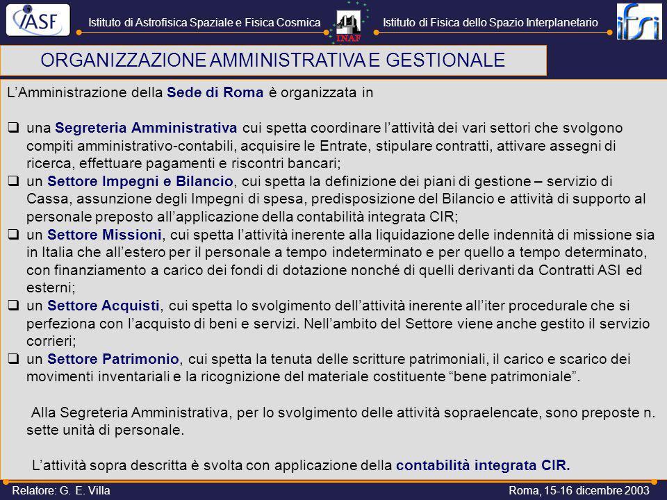 Istituto di Astrofisica Spaziale e Fisica CosmicaIstituto di Fisica dello Spazio Interplanetario Roma, 15-16 dicembre 2003Relatore: G.