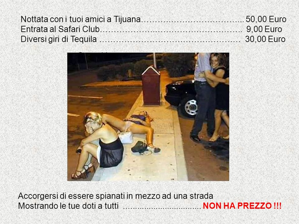 Nottata con i tuoi amici a Tijuana………..……………………... 50,00 Euro Entrata al Safari Club………………..………………………….. 9,00 Euro Diversi giri di Tequila ……………………………