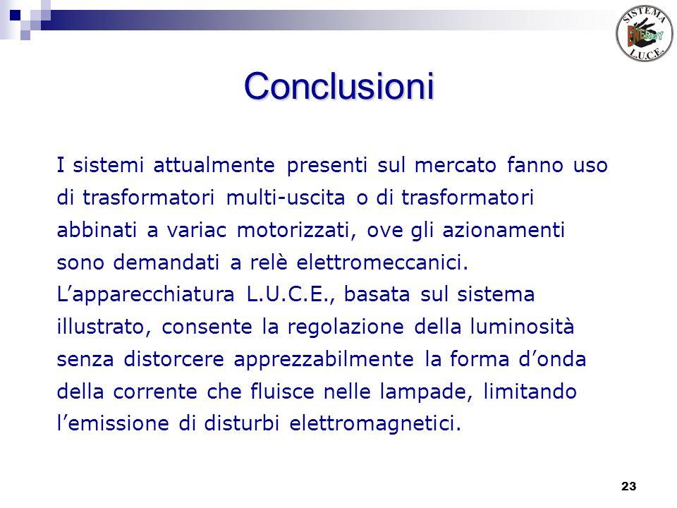 23 Conclusioni I sistemi attualmente presenti sul mercato fanno uso di trasformatori multi-uscita o di trasformatori abbinati a variac motorizzati, ov