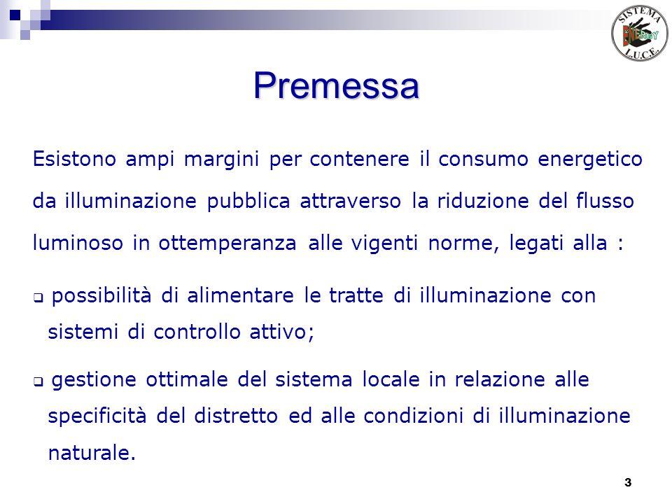 3 Premessa possibilità di alimentare le tratte di illuminazione con sistemi di controllo attivo; gestione ottimale del sistema locale in relazione all