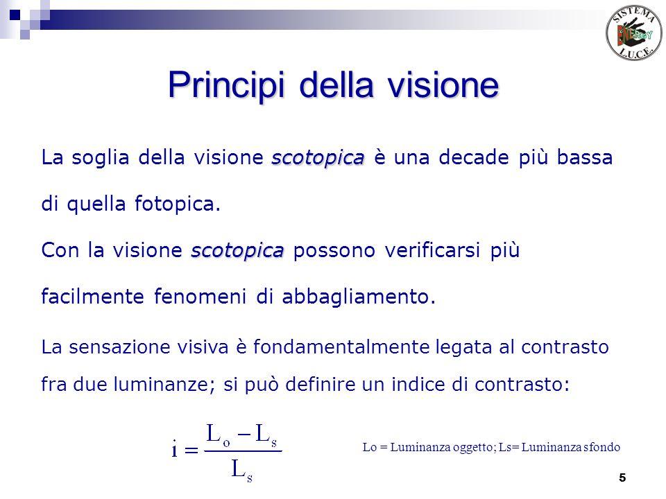 5 Principi della visione scotopica La soglia della visione scotopica è una decade più bassa di quella fotopica. scotopica Con la visione scotopica pos