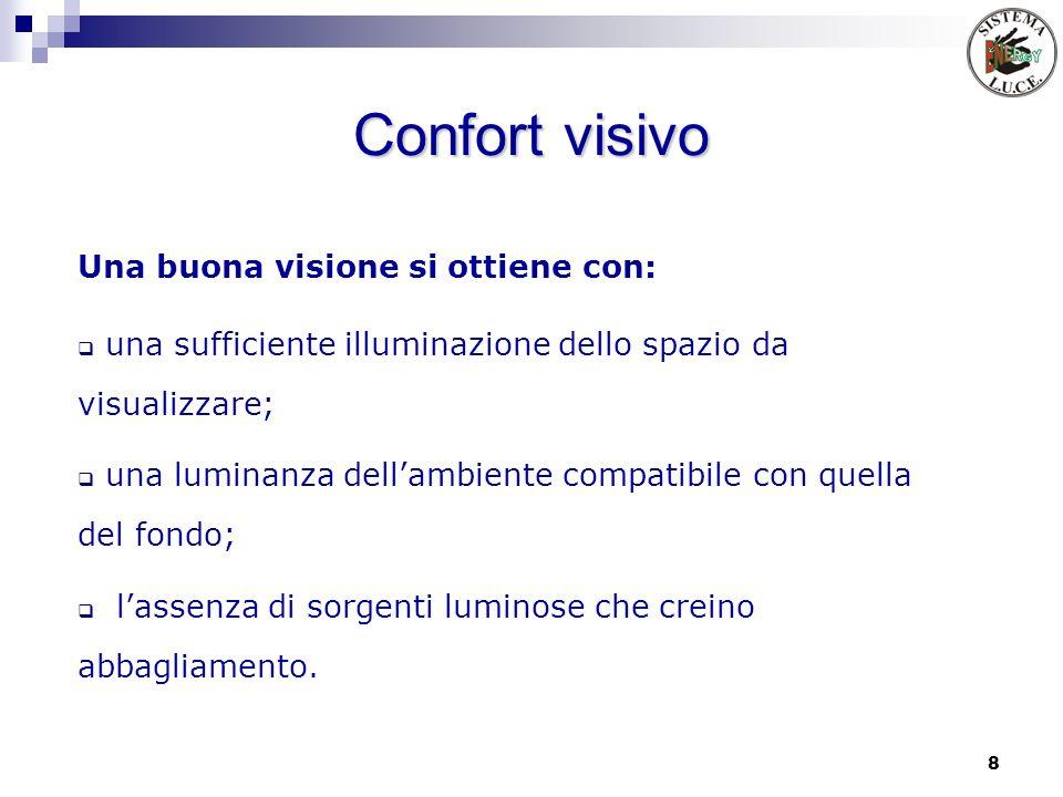 8 Confort visivo Una buona visione si ottiene con: una sufficiente illuminazione dello spazio da visualizzare; una luminanza dellambiente compatibile