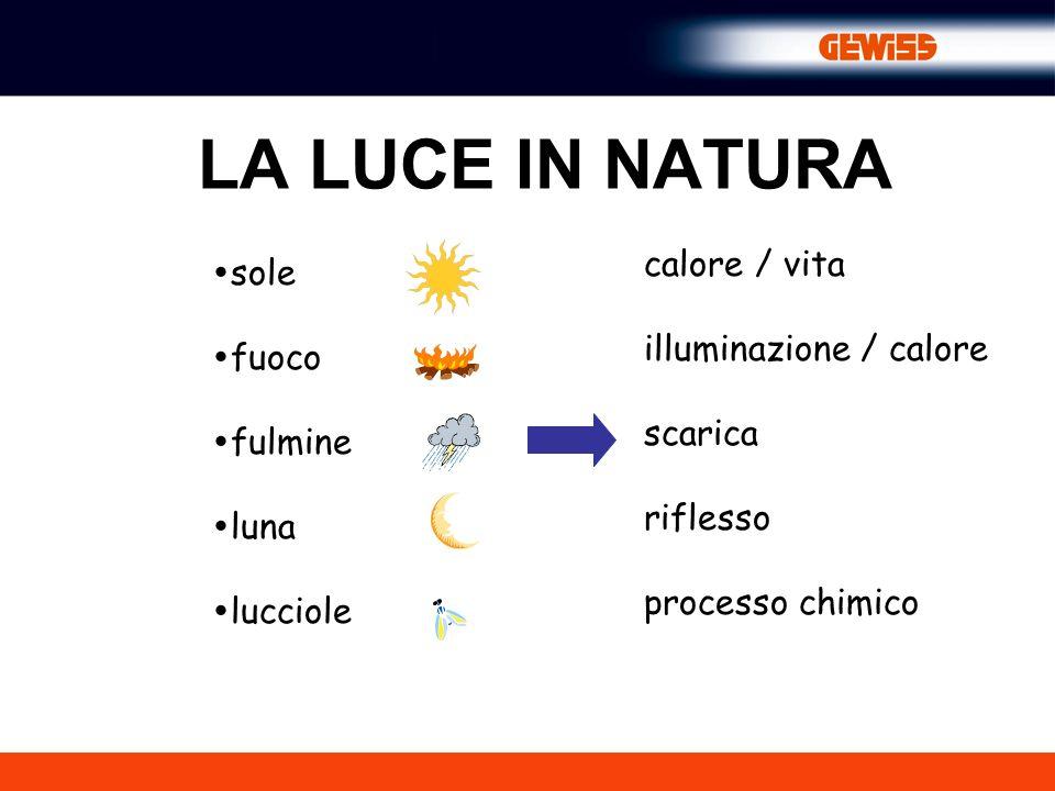 LA LUCE IN NATURA sole fuoco fulmine luna lucciole calore / vita illuminazione / calore scarica riflesso processo chimico
