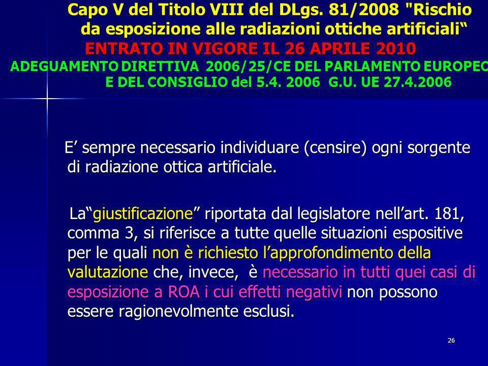 Capo V del Titolo VIII del DLgs.