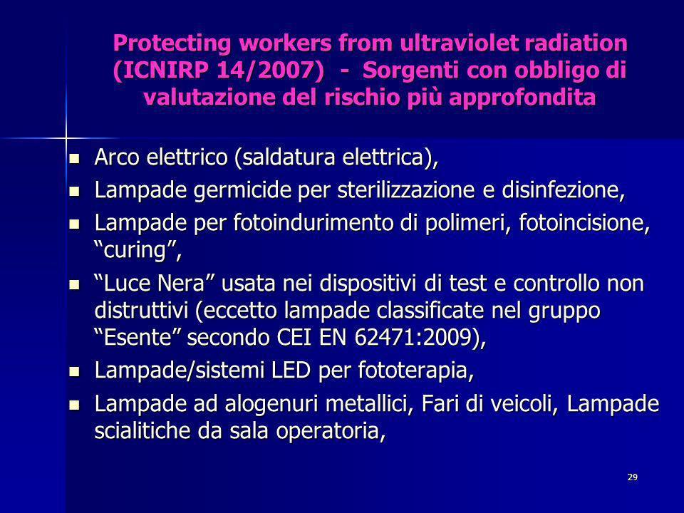 Protecting workers from ultraviolet radiation (ICNIRP 14/2007) - Sorgenti con obbligo di valutazione del rischio più approfondita Arco elettrico (saldatura elettrica), Arco elettrico (saldatura elettrica), Lampade germicide per sterilizzazione e disinfezione, Lampade germicide per sterilizzazione e disinfezione, Lampade per fotoindurimento di polimeri, fotoincisione, curing, Lampade per fotoindurimento di polimeri, fotoincisione, curing, Luce Nera usata nei dispositivi di test e controllo non distruttivi (eccetto lampade classificate nel gruppo Esente secondo CEI EN 62471:2009), Luce Nera usata nei dispositivi di test e controllo non distruttivi (eccetto lampade classificate nel gruppo Esente secondo CEI EN 62471:2009), Lampade/sistemi LED per fototerapia, Lampade/sistemi LED per fototerapia, Lampade ad alogenuri metallici, Fari di veicoli, Lampade scialitiche da sala operatoria, Lampade ad alogenuri metallici, Fari di veicoli, Lampade scialitiche da sala operatoria, 29